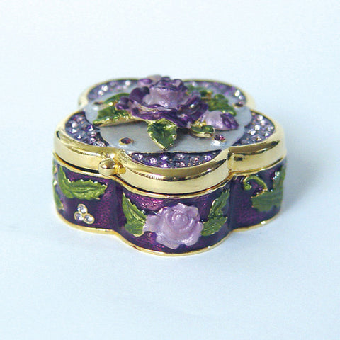 Purple 3 Dimensional Lavender Rose Box Swarovski Crystal Jewelry Kee...