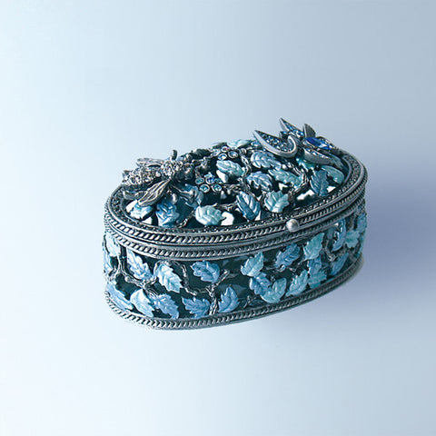 Blue Butterfly Jewelry Box set with Swarovski Crystals includes SILVER C...