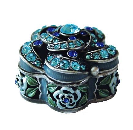 Blue Flowered Cutout Trinket Box