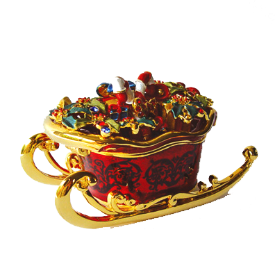 Christmas Sleigh Pewter Figurine Box