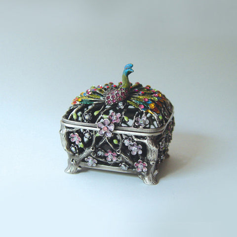 Peacock Figurine Box - Swarovski Crystals, Jewelry, Trinket or Pill Box