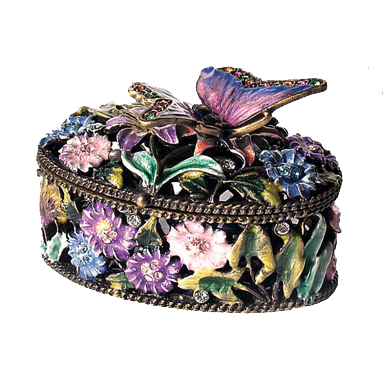 Butterfly Flowers Trinket Box