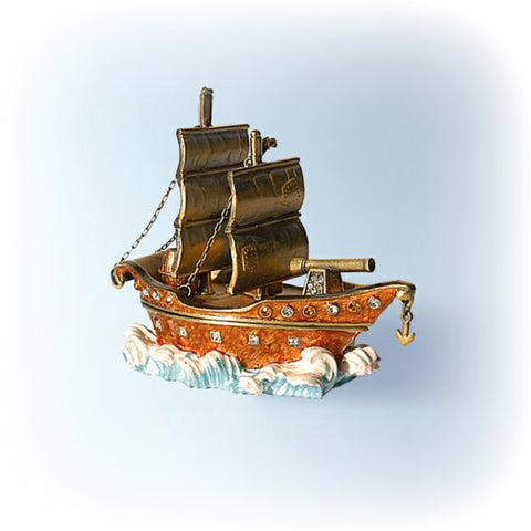 Clipper Ship Box Swarovski Crystals Sailboat Jewelry, Keepsake, Pill Box figurine