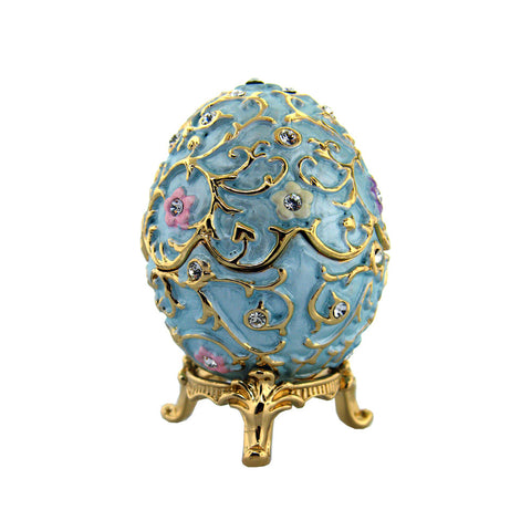 Powder Blue Flowered Faberge Egg Box