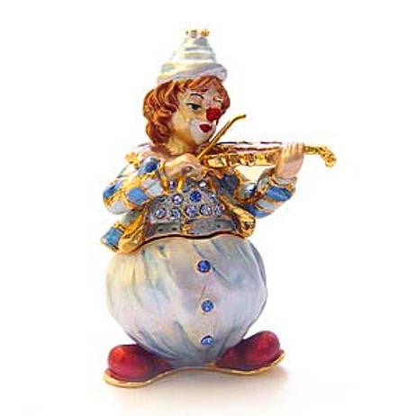 Clown W/ Violin Keepsake Box Swarovski Crystals Jewelry Trinket Pill FIGURINE