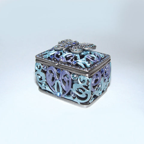 Celtic Filigree 3d Cut Away Scrolls Blue Butterfly Box Chest Swarovski Crystal figurine