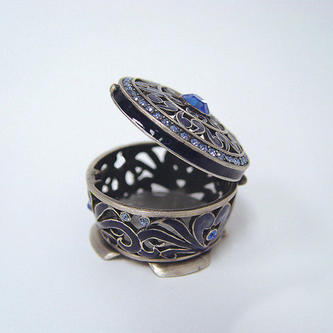 Blue Persian Byzantine Box Swarovski Crystals Jewelry, Trinket or Pill Box