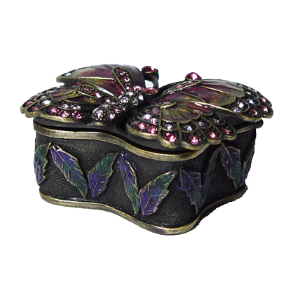 Art Deco Purple Butterfly Trinket Box