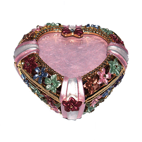 "Heart Shaped Trinket Box w/ 1.5"" Photo Frame"