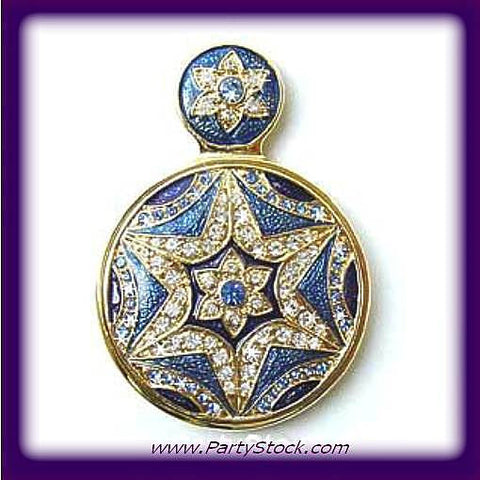 "Byzantine Star Blue Small Purse Mirror Handled Swarovski Crystals 2"" Round En..."