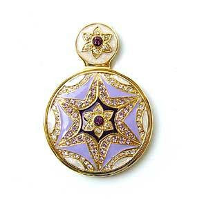 "Byzantine Star Lavender Small Purse Mirror Handled Swarovski Crystals 2"" Roun..."