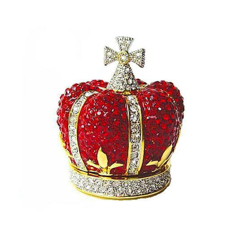 Regal Red Crown Box Swarovski Crystals Jewelry, Trinket or Pill Box ...