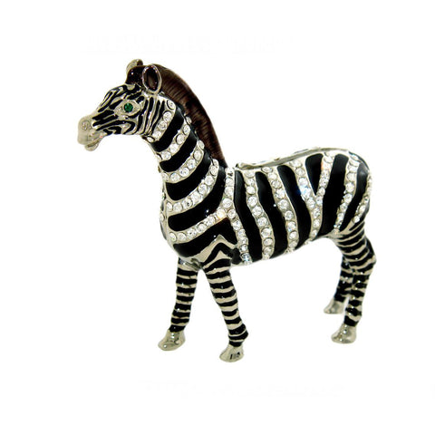 Swarovski Crystals African Zebra Box Black & White Jewelry, Trinket, Pill Box Figurine
