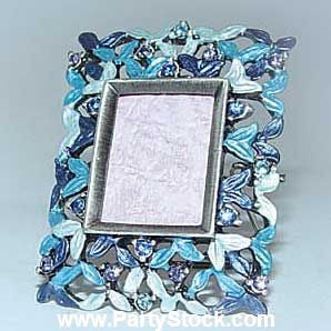 Rectangular Teal Blue Miniature Picture Frame with Swarovski Crystals for 3/4 Inch Photo