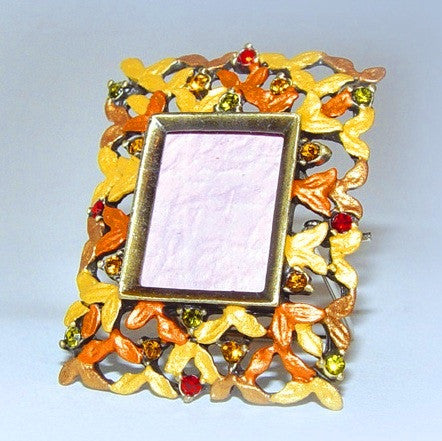 Orange Yellow Gold Red Miniature .75 inch Picture Frame for 3/4 Inch Photo Swarovski Crystals