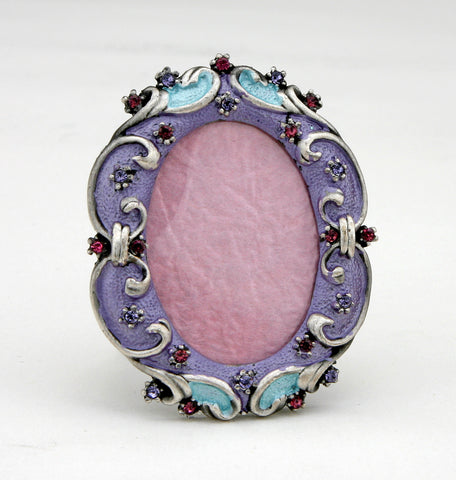 Light Blue Purple Swarovski Crystals Miniature Oval Picture Frame for 1.25 in...