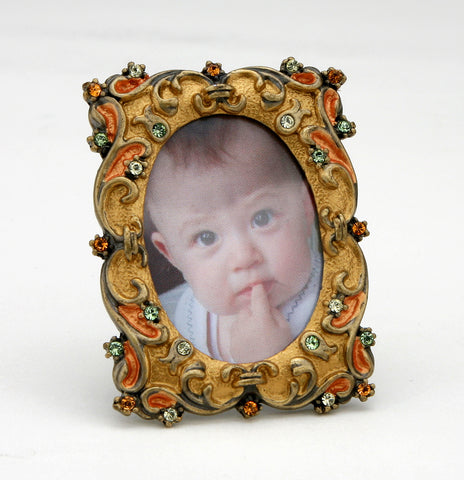 Amber Copper Swarovski Crystals Orange Miniature Picture Frame for 1.25 inch ...
