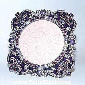 Ornate Blue Violet Blue Purple Big Cabochon Swarovski Crystals Photo Frame, 2...