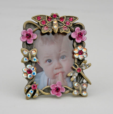 Miniature Flowers Pink Butterfly Picture Frame for a 1.5 inch Photo Swarovski...