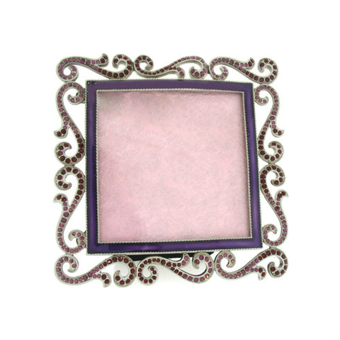 "Purple Scrolls 5"" Picture Frame set with Swarovski Crystals Fits 3"" x 3"" Photo"