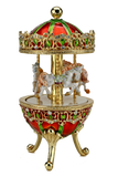 Three Horses Carousel Music Box