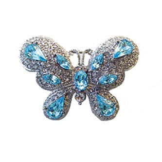 Exquisite Butterfly Pin Vintage Jewelry set with Swarovski Crystals, Silver,Blue