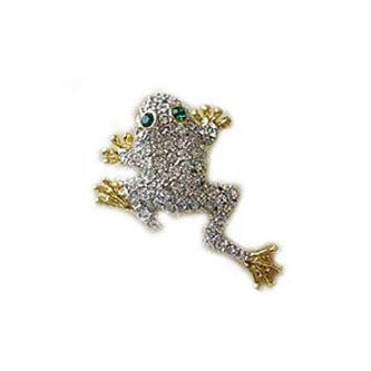 Leaping Frog Pin Jewelry set with Swarovski Crystals, White & Gold