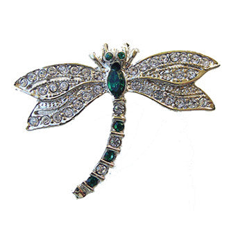Dragonfly Pin Jewelry set with Swarovski Crystals, Green & Silver