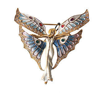 Art Deco Fairy Pin Jewelry set with Swarovski Crystals, Erte Inspired