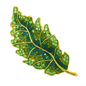 Large Leaf Pin Jewelry set with Swarovski Crystals, Green & Gold