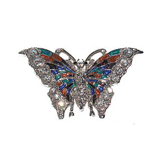 Colorful Butterfly Pin Jewelry set with Swarovski Crystals, Vintage style