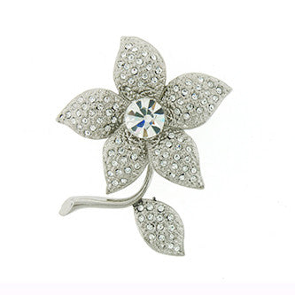 Art Deco Flower Pin Jewelry set with Diamond-Like Swarovski Crystals, White, Silver