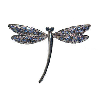 Blue Dragonfly Pin Jewelry set with Swarovski Crystals, Art Deco