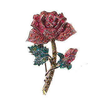 All Swarovski Crystals, Rose Pin Jewelry , Pink & Green