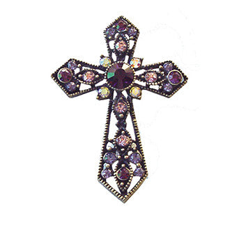 Christian Cross Pin Jewelry set with Swarovski Crystals, Purple