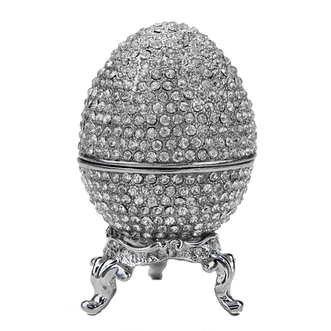 Refurbished Platinum Crystal Faberge Egg Box with Ring Insert - Engagement Box, Ring Box,