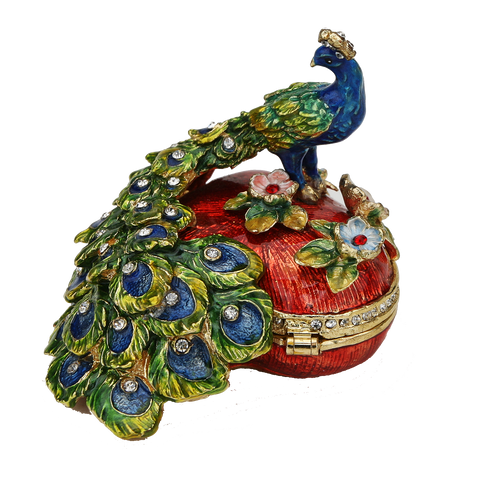 Heart Shaped Peacock Figurine Box