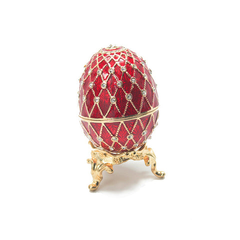 Red Faberge Egg Box with Ring Insert