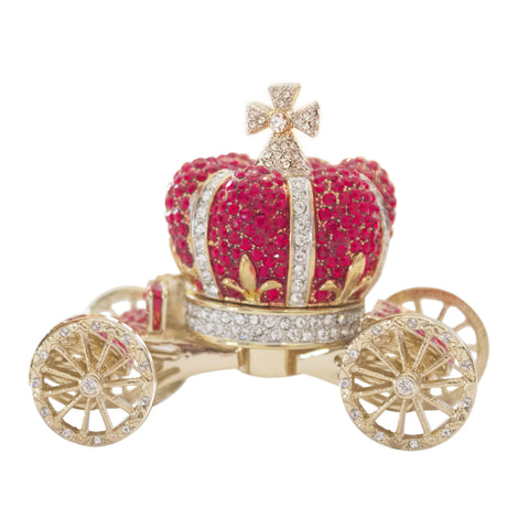 Red Crown Carriage Box Swarovski Crystals Keepsake Trinket, Pill Box Figurine
