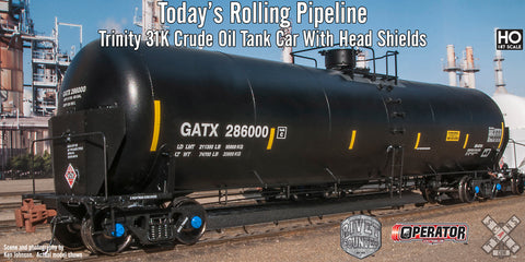 Trinity 31K Gallon Crude Oil Tank Car with Head Shields
