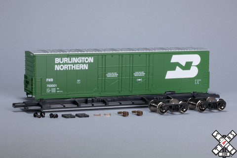HO Evans (USRE) 5100 RBL 8' Double-Plug-Door Boxcar, Burlington Northern FWD