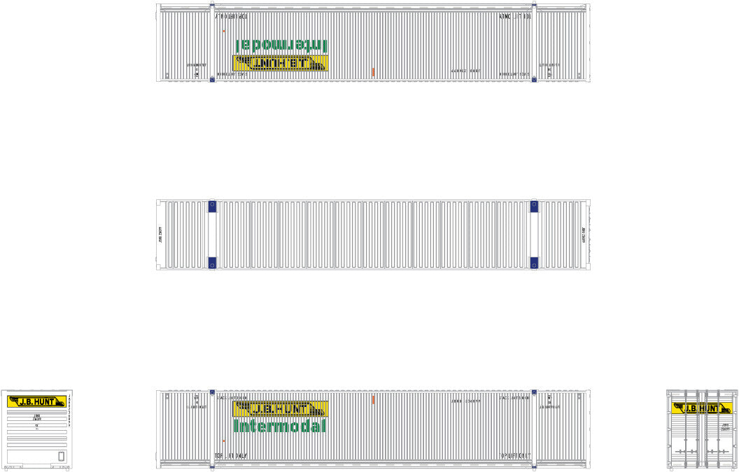 N CIMC 53' Corrugated Dry Container 3-Pack, JB Hunt/Intermodal