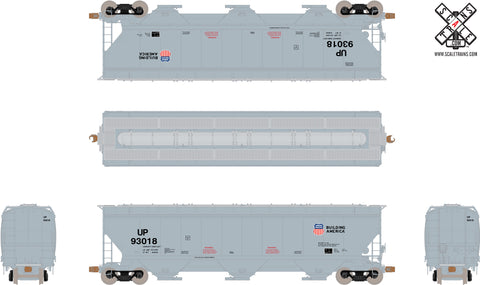 Operator HO Scale Gunderson 5188cf Covered Hopper, Union Pacific