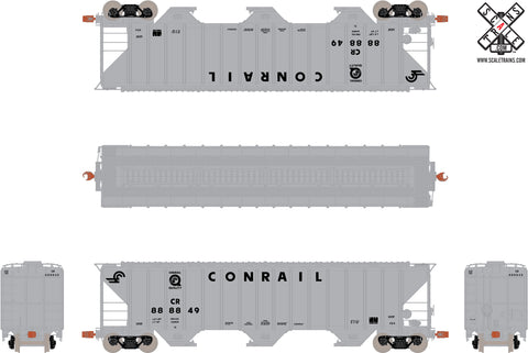 "Operator HO Scale Pullman-Standard PS-2CD 4785cf Covered Hopper, Conrail ""Quality"" Scheme/Gray"