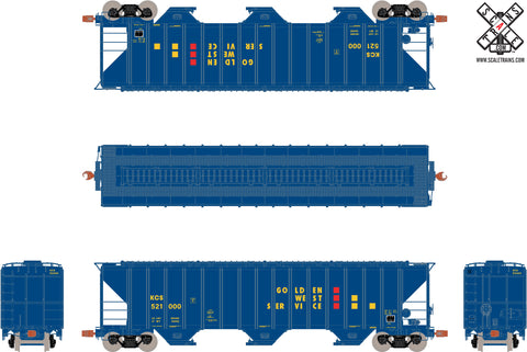 Operator HO Scale Pullman-Standard PS-2CD 4785cf Covered Hopper, Golden West Service/KCS