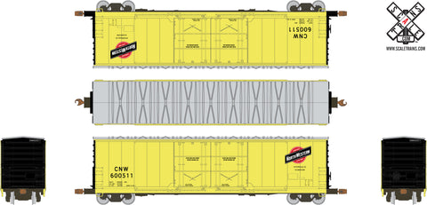 Kit Classics HO Scale Evans 5100 RBL Boxcar, Chicago Northwestern/Zito Yellow