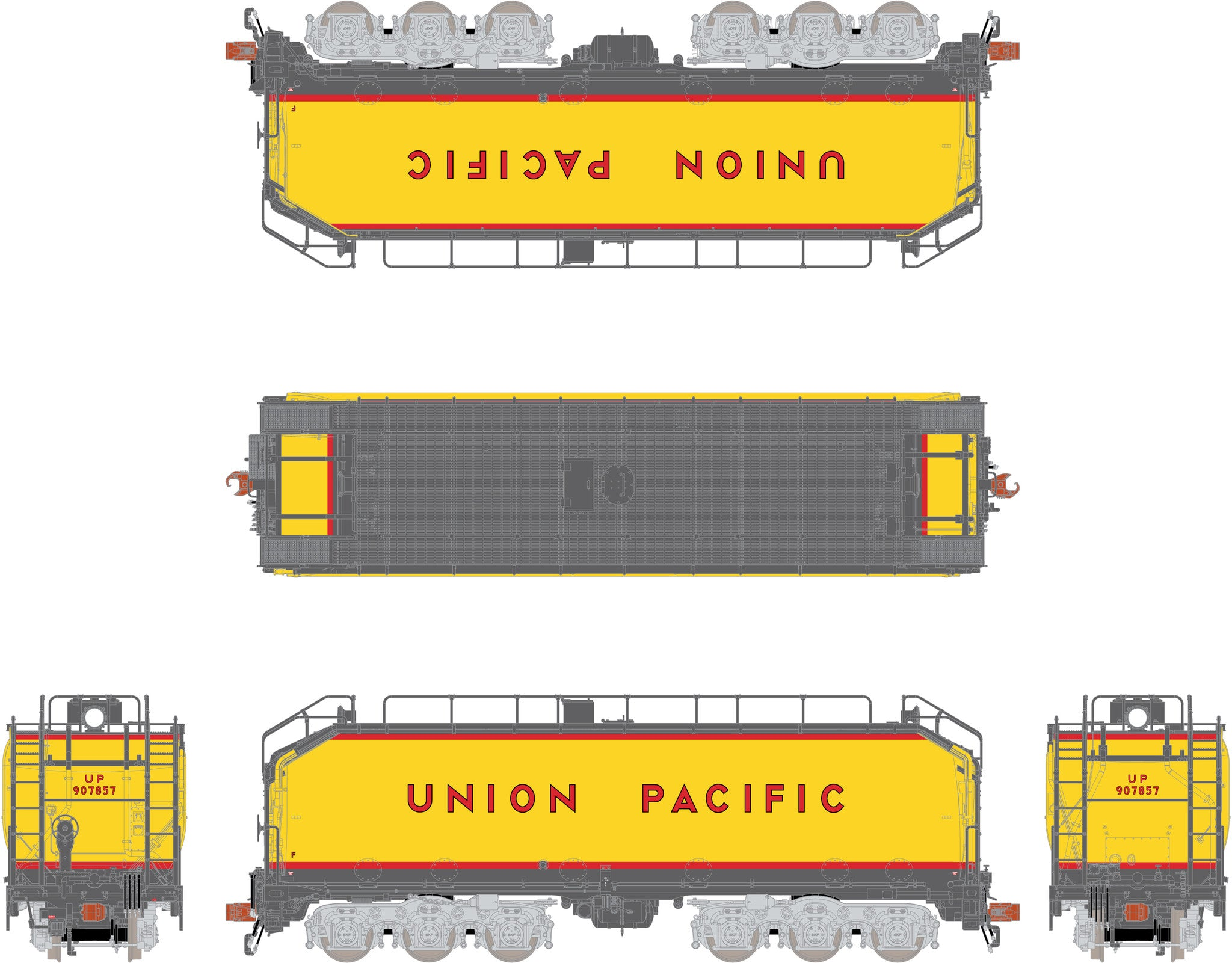 Rivet Counter HO Scale Union Pacific Steam Excursion Pre-2006 Water Tender  Set