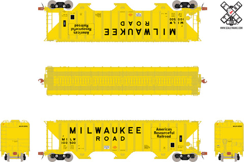 Rivet Counter HO Scale Pullman-Standard PS-2CD 4785cf Covered Hopper, Milwaukee Road/MILW