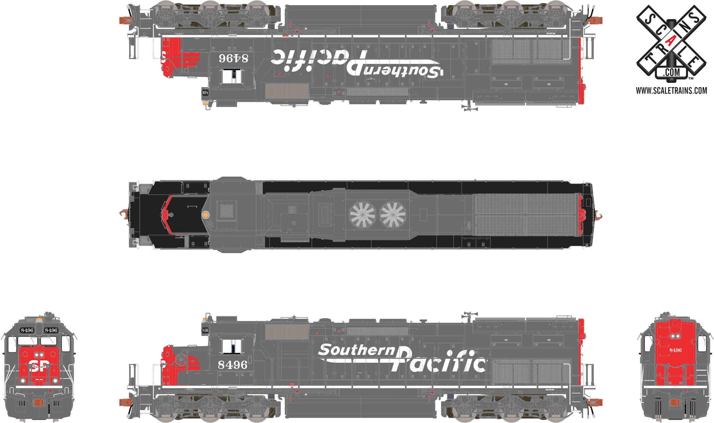 """Rivet Counter HO Scale EMD SD40T-2, Southern Pacific/Speed  Lettering/""""Lobotomized"""""""