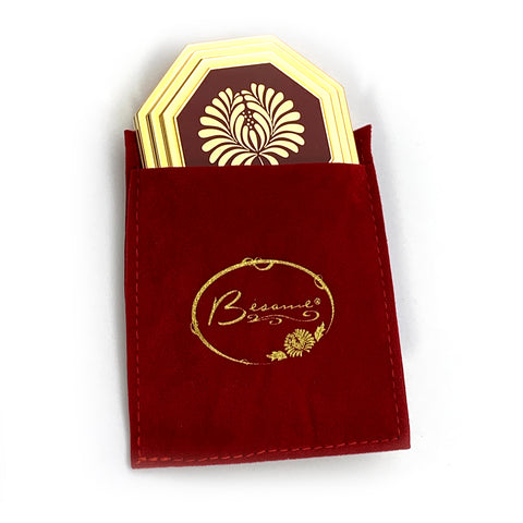 Besame signature compact in red velvet besame bag